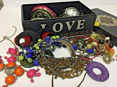 Vintage Jewelry Lot Fashion Pieces Necklace Ring Bracelet Earrings Love Box