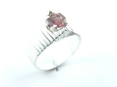 NATURAL HOT PINK TOURMALINE 0.83 Carat 5.9mm ROUND in SILVER RING Size O/7