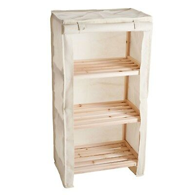 Wooden 3 Shelf Storage Unit with Canvas Cover for Bathroom Bedroom Closet