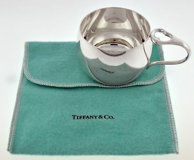 Tiffany & Co Elsa Peretti Sterling Silver Open Heart Handle Baby Cup With Pouch