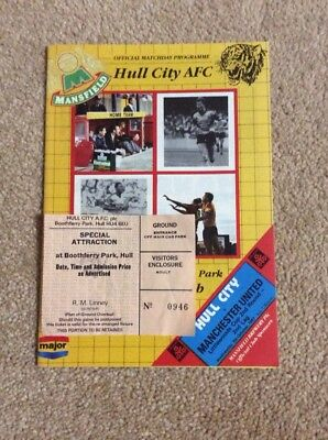 1987-88 Hull City V Manchester United League Cup 2Nd Round Programme & Ticket