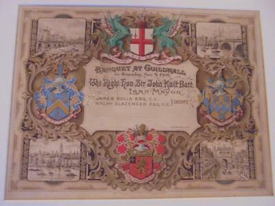 Rare Original Artwork For 1909 London Guildhall Banquet Invitation Card J.knill