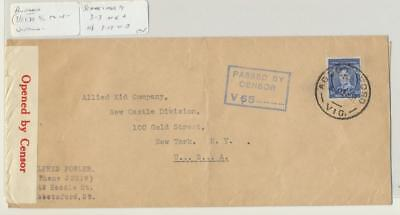 MAURITIUS -USA 1939 CENSOR(#V65) COVER +SCARCE TYPE 3-3 LABEL,12c RATE(SEE BELOW