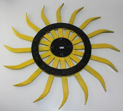 "Vintage Yellow Sunflower Steel 21"" Spike Wheel Rotary Hoe Steampunk Garden Art"