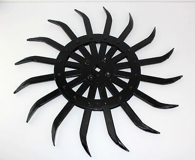 "Vintage Black Steel 21"" Spike Wheel Rotary Hoe Industrial Steampunk Garden Art"