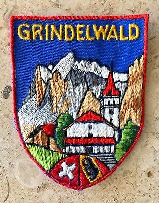 Grindelwald Swiss Switzerland Flag Embroidered Shield Patch Travel Souvenir
