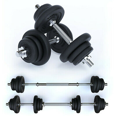 Cast Iron Weights Set - Dumbbells Fitness Free Weight Training Barbell Home Gym