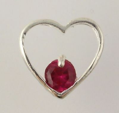 Synthetic Ruby Heart Pendant - 925 Sterling Silver Women's Fine Estate Red Love