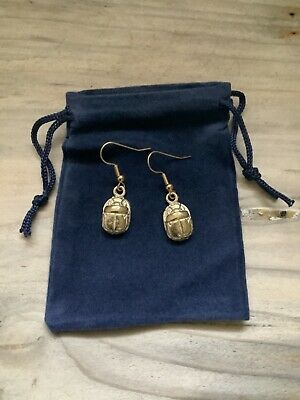 A Pair Of Egyptian Gold Plated Scarab Earrings