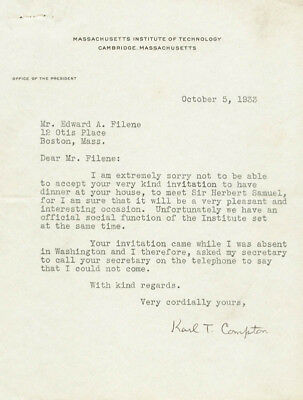 Karl T. Compton - Typed Letter Signed 10/05/1933