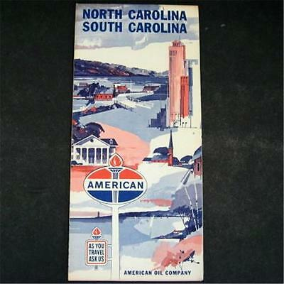 1963 American Oil Co North South Carolina Road Map Great Smokey Mountains