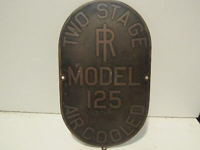 Two Stage Model 125 Air Cooled Railroad Emblem  Badge Nameplate Script Metal