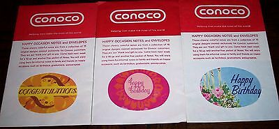 VINTAGE 60s CONOCO HAPPY OCCASION GREETING CARDS SERVICE STATION PREMIUM MIP 3PK