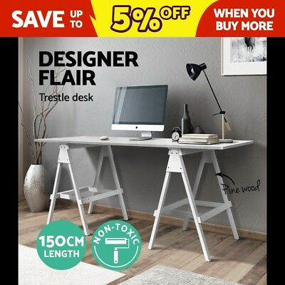 Artiss Computer Trestle Desk Study Writing Work Table Home Office Bench Drawing