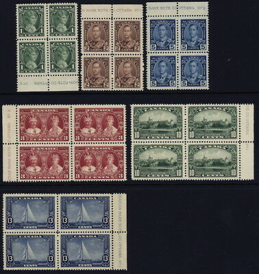 Canada 211 to 216 blocks of 4 complete set with plate #s & imprints - mnh