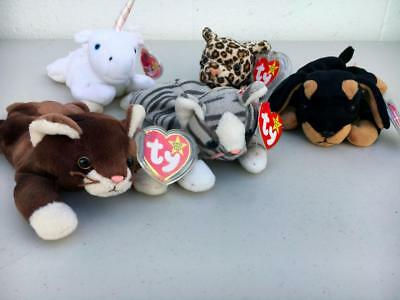 TY Beanie Baby~BEANIE BABIES~Pounce~Prance~Doby.MYSTIC.FRECKLES.'93,'96,97 YEARS