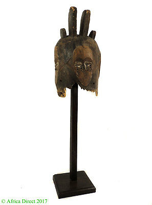 Fang Helmet Mask Ngontang Four Faces Gabon African Art Custom Stand
