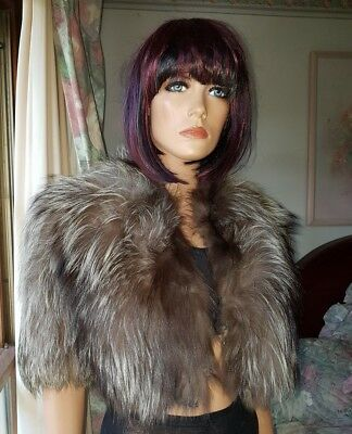 Vintage Genuine Silver Fox Fur Cape Capelet Bolero Stole Shrug Jacket Coat Shawl