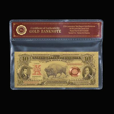 24K Gold Foil Plated 1901 $10 Dollar Gold Bill Banknote Novelty W/coa #pouch