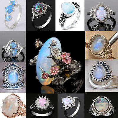 925 Sterling Silver Fire Opal&Moonstone Wedding Engagement Bridal Rings Jewelry