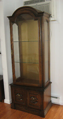 Vintage Cherry Wood Lighted Curio Cabinet w/3 Slotted Glass Shelves/Base Cabinet