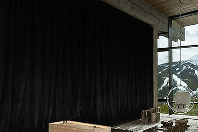 Long Large Thick 80% COTTON Velvet Curtain 300x270cm with liner+hooks Black New