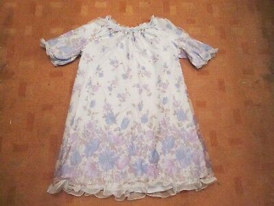 ST. MICHAEL Vintage 60s brush nylon floral frilled nightdress/tie bow sz 12