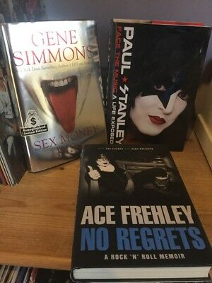 kiss signed books paul stanley gene simmons ace frehley