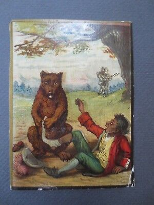 Victorian SCRAP Cut Out Bear Taking Black Man's Sock Off Hunter & Gun American
