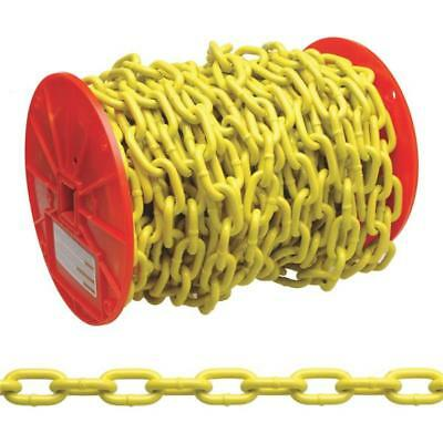 "100' Steel Yellow Polycoat 3/16"" Load Binding Towing Proof Coil Chain PD0725027"
