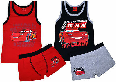 Boys New Cars Vest And Boxers Set McQueen Character Kids Underwear 2 PACK Age3-8