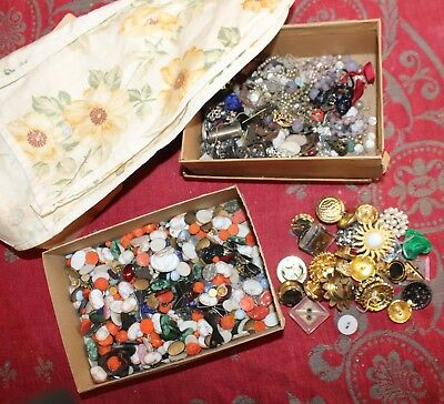 Antique Sewing Jewelry Clothing Shoe Embellishments Beads Notions Buttons Pocket