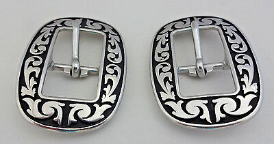 """Pair Jeremiah Watt Oval Floral Buckles 3//4/"""" Black Headstall Horse Tack Stainless"""