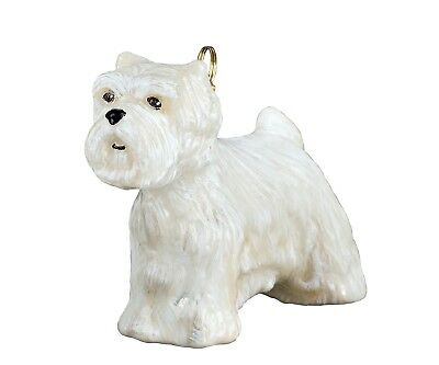 West Highland White Terrier Standing Westie Polish Glass Christmas Ornament