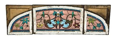 Salvaged Chicago Stained Glass Triptych Residential Window
