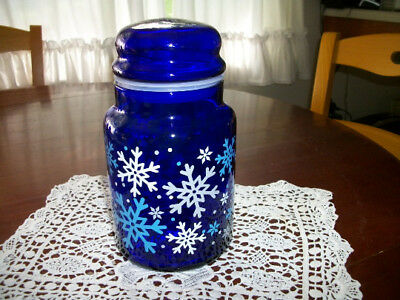 VINTAGE  BLUE Glass Round Apothecary Jar Canister w WHITE SNOWFLAKES  Display