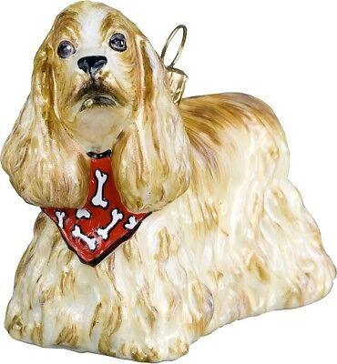 Blonde Cocker Spaniel Dog with Bandana Polish Blown Glass Christmas Ornament