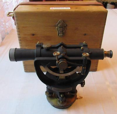 Antique David White Surveyor's Level Scope Telescope Transit Survey w/ wood Case