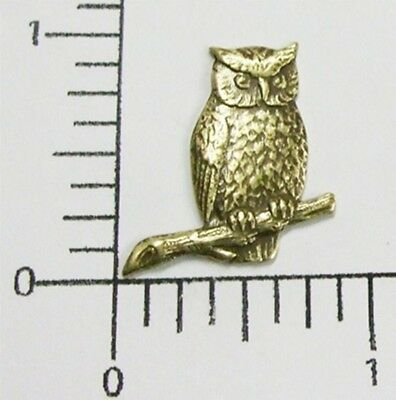 36383           Brass Oxidized Small Owl on Branch Jewelry Finding