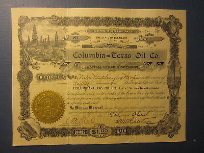 Old 1919 - COLUMBIA - TEXAS OIL CO. - Stock Certificate