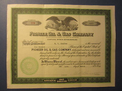 Old 1922 - PIONEER OIL & GAS COMPANY - Stock Certificate