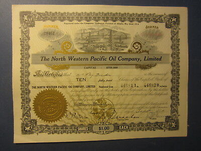 Old c.1910's - NORTH WESTERN PACIFIC OIL Co. Stock Certificate - CALGARY CANADA
