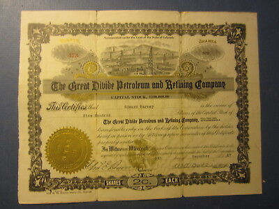 1917 GREAT DIVIDE Petroleum and Refining Co. - OIL Stock Certificate - COLORADO