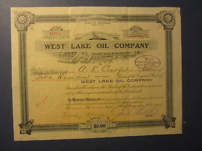 Old 1900 - WEST LAKE OIL COMPANY - Stock Certificate - LOS ANGELES CALIFORNIA