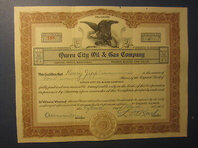 Old 1924 - QUEEN CITY OIL & GAS COMPANY - Stock Certificate