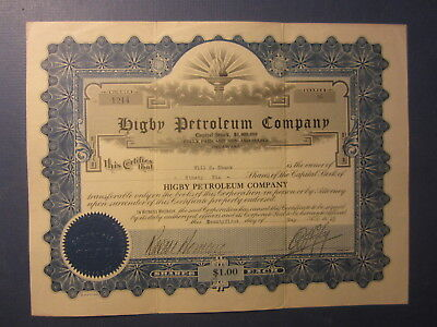 Old 1923 - HIBGY PETROLEUM COMPANY - OIL Stock Certificate