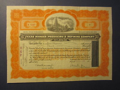 Old 1921 TEXAS RANGER PRODUCING & REFINING COMPANY - OIL Stock Certificate