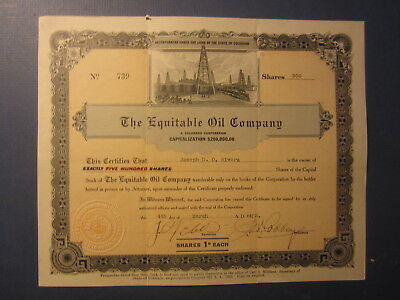 Old 1925 - EQUITABLE OIL COMPANY - Stock Certificate - COLORADO