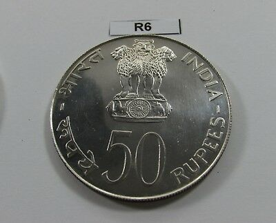 India 1974 50 Rupees Large Silver Coin F.a.o - R6