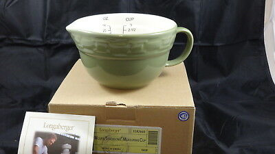 Longaberger Sage Green Pottery Woven Traditions Measuring Cup Mixin Bowl - NEW
